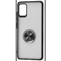 Чехол LikGus Maxshield матовый Samsung Galaxy A51 с держателем на палец (черный)