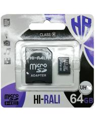 Карта пам'яті Hi-Rali microSD 64gb (10cl) + adapter