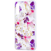 Силиконовый чехол Samsung A50 (фиолетовые цветы)