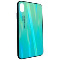 Чехол Glass Case Gradient iPhone XS Max (салатовый)