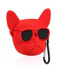 Чохол для AirPods Bulldog з карабіном (червоний)