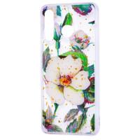 Силиконовый чехол Samsung A20 / A30 (зеленые цветы)