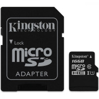 Карта памяти Kingston micro SD 16gb (10cl) + адаптер