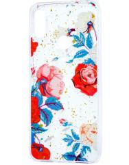 Силиконовый чехол Xiaomi Redmi 7 (красные цветы)