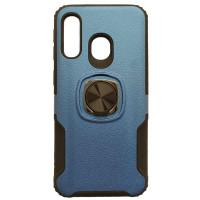 Чехол с кольцом техно кожа Samsung Galaxy A40 (синий)