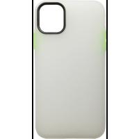 Чехол силиконовый матовый iPhone 11 (бело-салатовый)