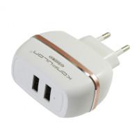 Зарядное устр. (зарядка) Konfulon C23 Lightning (2.4 A) 2USB (белый)