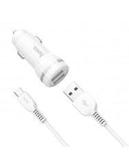 АЗП Hoco Z27 2в1 micro USB 2USB/2.4A (White)