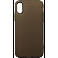 Чехол силиконовый матовый iPhone XS (черно-салатовый)