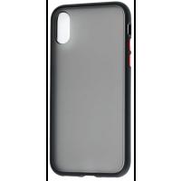 Чехол LikGus Maxshield матовый iPhone X/XS (черно-красный)