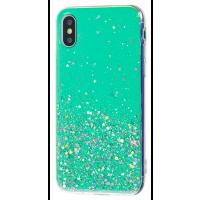 Чехол силиконовый блестки iPhone XS (бирюза)