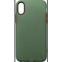 Чехол силиконовый матовый iPhone XS (зелено-красный)