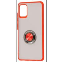 Чехол LikGus Maxshield матовый Samsung Galaxy A51 с держателем на палец (красный)
