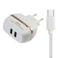 Сетевое зарядное устройство Konfulon C23 2.4 A 2USB (белый) + кабель Micro USB