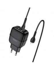 Мережевий зарядний пристрій Hoco C77A 2.4A + кабель Lightning