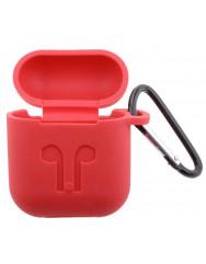 Чехол для AirPods Colors с карабином (красный)