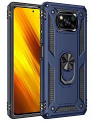 Чохол Serge Ring + підставка Xiaomi X3 NFC/ Poco X3 Pro (темно-синій)