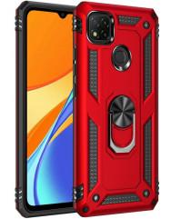 Чохол Serge Ring + підставка Xiaomi Redmi 9C (червоний)
