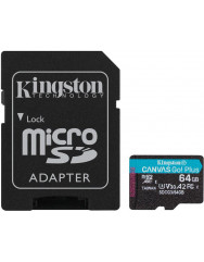 Карта пам'яті Kingston micro SDXC Canvas Go Plus A2 U3 64gb (10cl) + адаптер