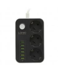 Мережевий подовжувач LDNIO SE3631 3 розетки 6 USB 1.6 м Black