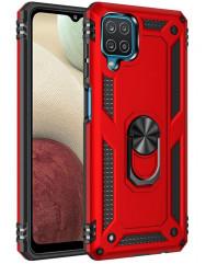 Чохол Serge Ring + підставка Samsung A12 (червоний)