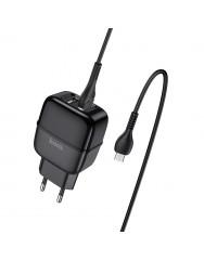 Мережевий зарядний пристрій Hoco C77A 2.4A + кабель Micro USB